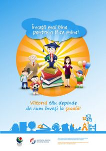 Poster for the project 'Assisting quality educational processes in one school attended by Roma children in the Republic of Moldova', 2011-2012.