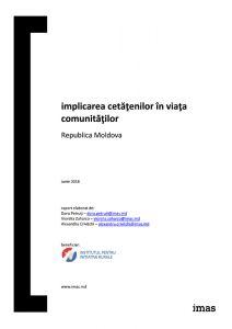 """Raport """"Implicarea cetăţenilor în viaţa comunităţilor"""", 2018. Elaborat de IMAS la solicitarea IRI."""