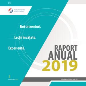 Institutul pentru Inițiative Rurale - raport anual 2019, format 21 x 21 cm, 48 pag.